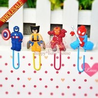 Wholesale Hot set Lego Movie Super Herores Cartoon Bookmarkers Cartoon Paperclips Learning Filing Supplies for Books Pages Holder Kids Gifts Toys