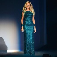 Wholesale New Beyonce Brit Awards Sequined Green Celebrity Dresses Vestidos Evening Prom Dresses With Long Sleeves And Sequins Evening Gowns