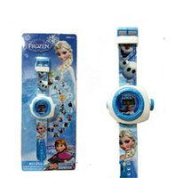Wholesale 2014 silicone jelly Frozen wristwatch Projection Watch Watch Anna Elsa Wallet Kids Fashion Cartoon Watch Sets Lovely Boy Girl Children Watch