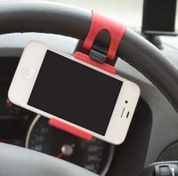 Wholesale Car Steering Wheel Phone Socket Holder SMART Clip Car Bike Mount for iPhone S Plus Samsung Note5 S6 S7 Edge Plus