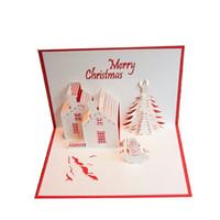 tarjeta de navidad d de corte de papel castillo de navidad rbol de mueco de nieve