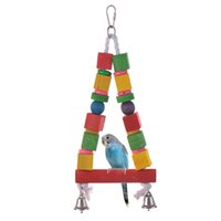 Wholesale Colorful Bird Toy Parrot Swing Cage Toy Parakeet Cockatiel Budgie Lovebird Woodens Swings Toys Wood YW38