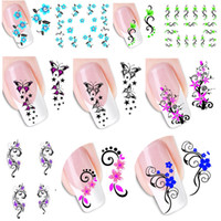 Wholesale New Hot d Nail Stickers Temporary Tattoos Water Transfer Beauty Long Flower Bows Foil Nail Decals Nail Tools XF1422