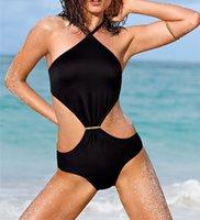 sexy tracksuit - Bandage Strappy Bathing Suit Halter Monokini One Piece Swimsuit Women s Tracksuits Sexy Backless Swimwear Black Padded Beachwear