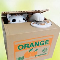 Wholesale New Arrival High Quality Lovely Steal Money Cat Coins Piggy Bank Saving Box Money Box Xmas Gift