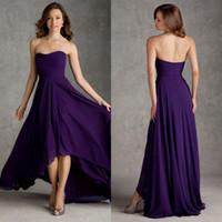 Wholesale Bridesmaids Dresses New Arrival Strapless A Line High Low Purple Chiffon Wedding Dresses