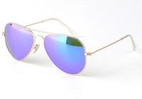 Wholesale Flash Mirror Lens Fashion Men Women Mercury Sun Glasses Brand Designer Summer Eyeglass Celebrity Glasses Non Polarized Lens Red Green Blue