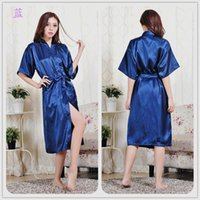 sexy fashion pajamas - Fashion Women s Solid Silk Kimono Robe for Bridesmaids Wedding Party Night Gown Pajamas colors available