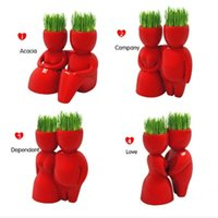 Wholesale Red Sweetheart Grass Doll Potted Plants Bonsai Desktop Flower Pots Planters Valentines Day Gift Novelty Bonsai