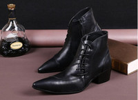 Cheap Men Ankle Boots Brand Fashion Dress Shoes 100% Cow Leather Pointed Toe Martin Boot Waterproof Genuine Leather Shoes Short Boots