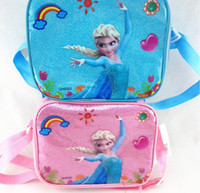Wholesale New Designer Frozen Kids Backpacks Insulation Lunch Bag Withpout Water Bottle and Box Elsa and Anna Children Pearl Cotton Shoulder Bag
