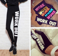 winter leggings - New Arrive Woman Clothing WORK OUT Letters Leggings Slim Sexy Sportswear Gym Sports Fitness Leggings Winter Pants