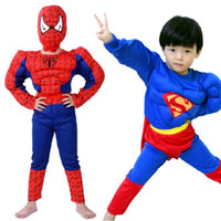 Wholesale New Children s Muscle style Superman costumes Superhero Outfit Performance Clothing Kid s spider man costumes