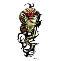 armed kill - Free ship HM033 cobra tattoo arm waist back chest body Snake wit Red tongue killing eyes waterproof Rub on transfer CE