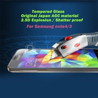 Wholesale for Samsung Galaxy Note S4 S3 Screen Protector mm D beveled edges Tempered Glass Japan AGC glass Explosion proof Shatter proof