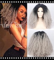 big full curls - Afro Kinky Curls Black Silver Grey Tones Ombre Wig Synthetic Lace Front Long Full Wigs Big Full for Black Women