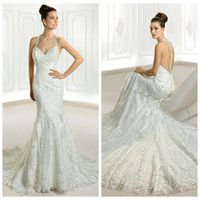 Wholesale 2015 Lace Sheath Wedding Dresses Ivory Halter Hollow Sleeveless Crystal Beading Chapel Train Covered Button Wedding Gowns Cosmobella