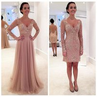 beautiful cameo - 2016 Beautiful Two Pieces Lace Appliques Beading Sheath Short Prom Dresses Cameo With Detachable Train Formal Long Sleeve Evening Gowns