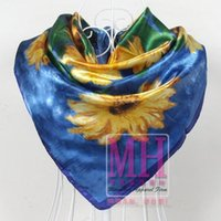 Cheap Free Shipping! New 2014 China Style Satin Large Square Scarf Flower Printed,Women Blue Polyester Silk Scarf,90*90cm