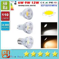 Wholesale Spot 12v Led 6w Mr16 - CREE COB GU10 E27 E26 E14 MR16 Dimmable Led 9W 12W 15W Spot Bulbs Light CRI>85 High Power Led Lights Lamp AC 110-240V