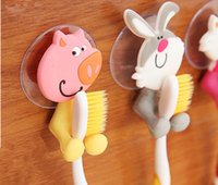 animal plastic racks - Bathroom Sets cute Cartoon Animal Sucker Plastic Toothbrush Holder Toothbrush rack Organizer