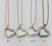 Cheap 30mm floating locket diamond heart transparent glass frames floating charm lockets pendants Multicolor optional Including necklaces