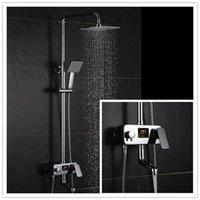 adjustable shower screen - height adjustable High Tech Luxury brass digital bathroom shower faucets set mixer tap esmalte kpah with LCD screen