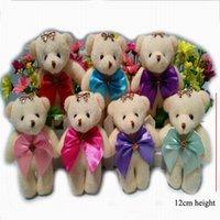 al por mayor paquete arco oso-Nuevos 12cm Teddy Bear Urso De Pelucia Oso Animales de peluche de felpa lindos para los juguetes de peluche para Flower paquete ramos Dolls con el arco