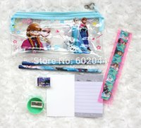 Wholesale set Frozen pencil Stationery gift pencil case ruler note book