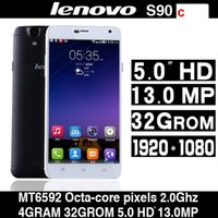 Wholesale 2015 New Octa Core Lenovo S90c MTK6592 Octa Core MP Mobile Phone G RAM G ROM IPS Android4 cell phones G WCDMA Network Unlock