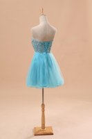 Wholesale 2015 Sexy Real Sample Corset Sweet heart Beaded Blue Tulle Sequins Homecoming Short Prom Dress Gown Dresses J001