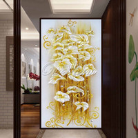 Wholesale 5D DIY Diamond Painting Crystal lily flower D Cross Stitch Flores Needlework Embroidery Diamonds Wall Stickers Home Decoration YSH ZSH