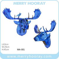 crafts and gifts - Wooden moose head reindeer head wood gift craft for Home and Store decoration wall hanging