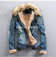 fur collar coat men - New Winter Men Clothing Jean Coat outwear Fur Collar Denim Jacket men s coat jackets men jacket winter S XL