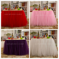 Wholesale handmade customizable solid wedding table skirt cm height Polyester table tulle for party festival home