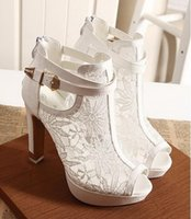 Wholesale Free shipp New Women Sexy White Black Lace Hollow Out Peep Toe Ankle Boots Buckle Metal Heels Breathable Chic Wedding Shoes Size EU