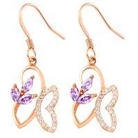 amethyst butterfly earrings - Butterfly Drop Earrings with Purple Stone Sterling Jewelry Crystal Brincos for Women Fashion Flower Earring R185