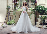 Wholesale 2016 Gorgeous Empire Wedding Dress In Stock Sweetheart Beading Appliques Crystals Beaded Off Shoulder Bridal Gown Court Train