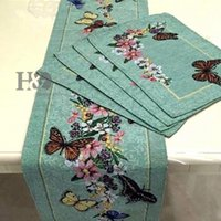 cotton table runner - Butterfly Countryside Flowers Table Cloth Elegant Show For Guests Tablecloth Table Runner Placemat Wedding Party Decoration
