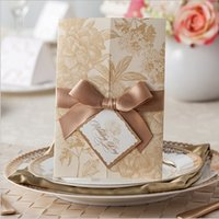 vintage sheet - 2015 New Arrival Laser Cut Printing Flower Gold Wedding Invitation Cards With Bow Flat Card Flora Blank Inner Sheet Vintage Fast Delivery