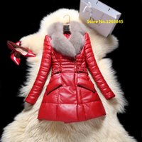 best winter jackets for women - Red Leather Jacket With Natural Fur Collar Plus Size XL Xl XL Genuine Leather Jacket For Winter With Best Price