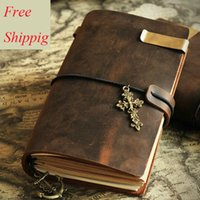 Wholesale Custom Name Journals Genuine Leather Diary Standard Notebook Pocket Passport Size Inner Kraft Paper Cores Brass Pen Clip