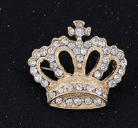 Unisex rhinestone brooch - Hot Selling Vintage Crystal Crown Brooch Rhinestone Brooch Collar Pin Corsage Alloy Brooch Wedding Brooch Pin Brooch Badge