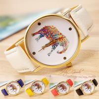 Wholesale 2015 Geneva women elephant design flower printing Girl leather PU wrist watch fashion dress quartz watches many colors