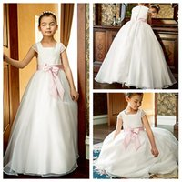 ribbon bow and flowers - A line Flower Girl Dress Square Ankle length Oganza Wedding Party Girl Dresses with Bow and Ribbon
