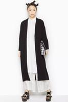Wholesale new fashion trench coat thin open stitch black long full v neck Split solid wide waisted one size sobretudo feminino K
