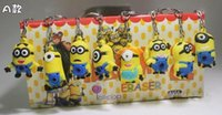 Cheap Despicable Me Pendant 3D Eye Minions Anime Doll Keychain Silicone Action Figure Kid Toys Key Ring Holder DM10010