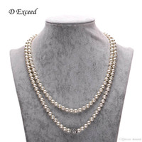 beads string string glass beads - Faux Pearl Necklace Bridal Jewelry Glass Pearl String Bead Necklaces Pendants with Rhinestone Ball for Women Party Neckalces