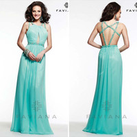 aqua colored dresses - Fashion Halter Long Chiffon Prom Dresses Party Evening Aqua Blue Sexy Backless A Line Colored Glittery Crystal for Cheap Gown Plus Size