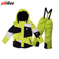 Wholesale 2016 phibee kids winter clothing set skiing jacket pant snow suit ski suit for boy fur lining DEGREE Russian